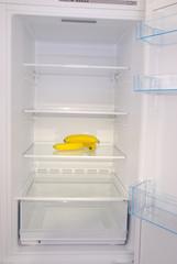 Bananas inside in empty clean refrigerator