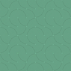Abstract Circle Pattern. Green Seamless Background in Vector