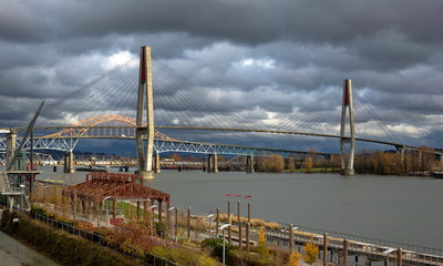 Sky Train Bridge, Pattullo Bridge and Railroad Track over the Fraser River between New Westminster and Surrey British Columbia