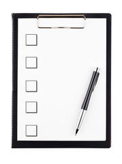 Tod do list with pencil isolated on white background