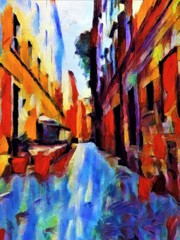 View of the canal in Venice. Large size modern wall art oil painting on canvas. Colorful abstract impressionism artwork.