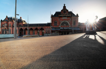 Foto op Canvas Treinstation Train station building in Groningen
