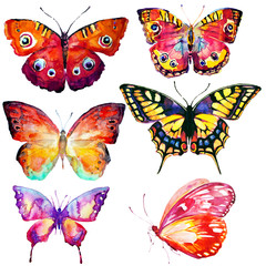 beautiful color butterflies,set, isolated  on a white, watercolor,art