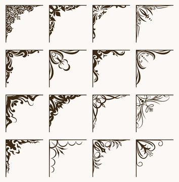 Set of 16 vintage calligraphic corners for your design.