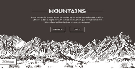 Mountains ranges. Nature sketch. Spiky mountain landscape sketch hand drawing, in engraving etching style, for extreme climbing sport, adventure travel and tourism design. Vector panorama.