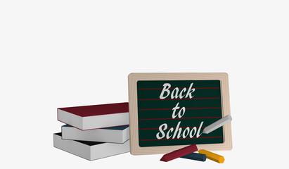 Schiefertafel mit dem Text Back to School, einem Bücherstapel und bunter Kreide