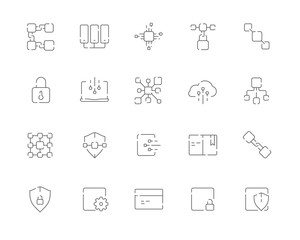 Simple set of Blockchain related vector line web icons. Contains such Icons as Blockchain, Block, Transaction, Ledger, Distribution and more. Editable Stroke. 48x48 Pixel Perfect.