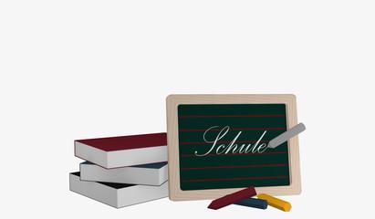 Schiefertafel mit dem Text Schule in deutsch, einem Bücherstapel und bunter Kreide