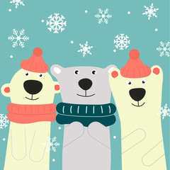 greeting card with three friends bears