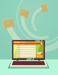 Email envelope and laptop. Vector flat illustration