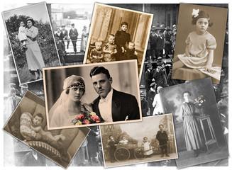 Alten Zeiten, Collage mit Familienfotos aus den letzten 100 Jahren