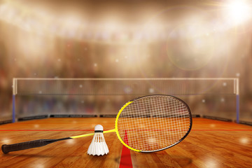 Badminton Racket and Shuttlecock in Arena With Copy Space