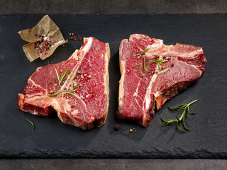 fresh raw T bone steaks
