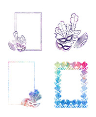 Set of beautiful color silhouette frames with carnival masks