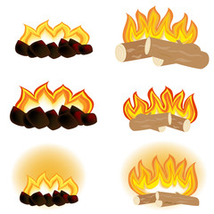 Set camp fires. Fire, firewood, coals. Burning fire. Coals. Hand-drawn vector illustration of set of fire and flames, perfect for decorating your project. Vector illustration.