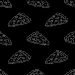 Abstract seamless pizza pattern for girls or boys. Creative vector background with italian pizza. Funny wallpaper for textile and fabric. Fashion pizza style. Monochrome, black and white picture