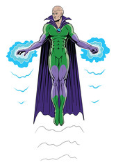 Super Hero Flying in Full Color is an illustration of a super hero in cape and costume flying by means of power emanating from his hand and fist.