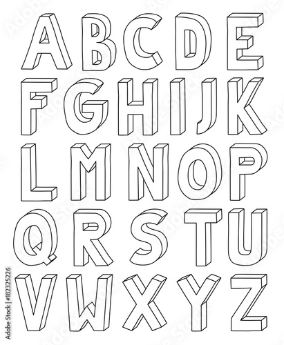 3D outline alphabet from letter A to Z in A4 Sheet