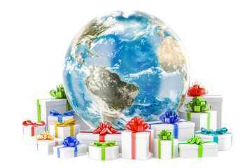 Earth Globe with presents. Global Christmas and New Year concept. 3D rendering