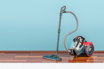 Modern vacuum cleaner indoor, 3D rendering