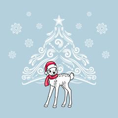 Cute little deer near the Christmas tree. Greeting card