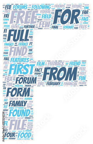 Word Cloud English Words beginning with F