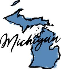 Hand Drawn Michigan State Design