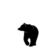 Graphic illustration of bear silhouette.
