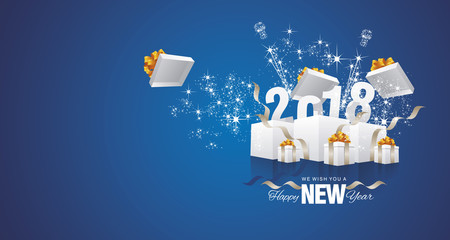 Happy New Year 2018 firework box blue landscape greeting card