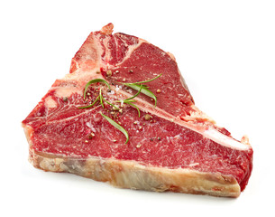 fresh raw T bone steak