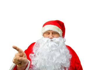 Santa Claus pointing finger
