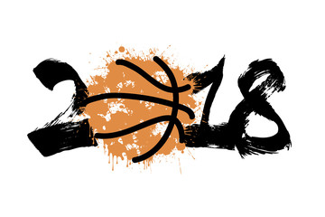 Abstract number 2018 and basketball