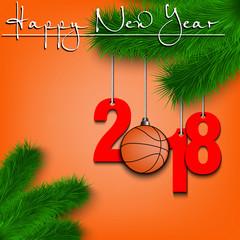 Basketball balls and 2018 on Christmas tree branch