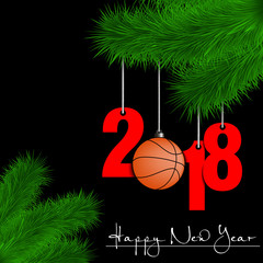 Basketball balls and 2018 on Christmas tree branch
