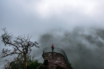 Man standing in front of a sea of fog in the jungle of Madeira, Portugal
