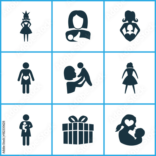 Mothers Day Icon Design Concept Set Of 9 Such Elements As Nanny