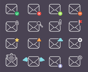 Email envelope cover communication correspondence blank address outline design paper empty card writing message vector illustration.
