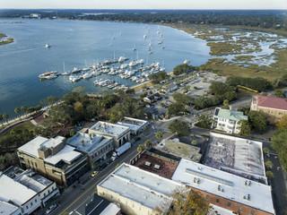 Aerial of coastal American community in South Carolina, USA.