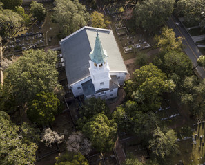 Aerial view of colonial Episcopal church in historic Beaufort, South Carolina, USA