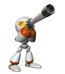 望遠鏡を覗くキュートなロボット