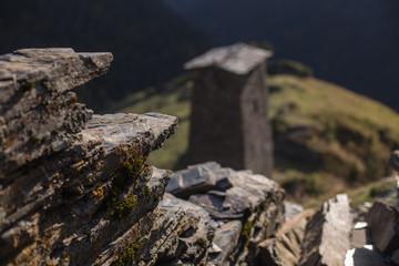 Georgian acient protection towers in causasus mountain