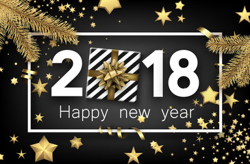 2018 new year background with gift.