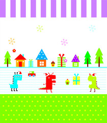 cute monster merry christmas greeting card vector