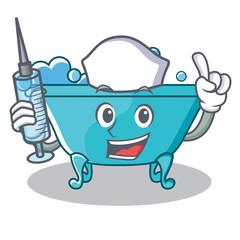 Nurse bathtub character cartoon style