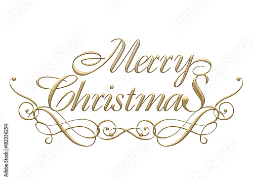 Merry Christmas In Cursive.Merry Christmas Logo Of Golden Metallic Relief Like Cursive