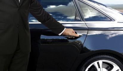 Driver hand opening car door