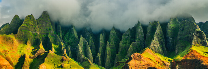 Aluminium Prints American Famous Place Hawaii Kauai mountains nature travel landscape. Na Pali coast, Kauai, Hawaii of Napali coastline in Kauai island, Hawaii, USA. Panorama banner copy space on mountains.