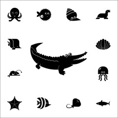 crocodile icon. Set of cute aquatic animal icons. Web Icons Premium quality graphic design. Signs, outline symbols collection, simple icons for websites, web design, mobile app