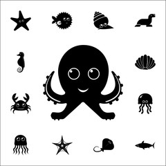 Cute octopus icon. Set of cute aquatic animal icons. Web Icons Premium quality graphic design. Signs, outline symbols collection, simple icons for websites, web design, mobile app