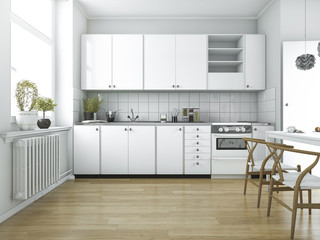 3d rendering scandinavian vintage kitchen with dining table